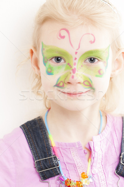 portrait of little girl with face painting Stock photo © phbcz
