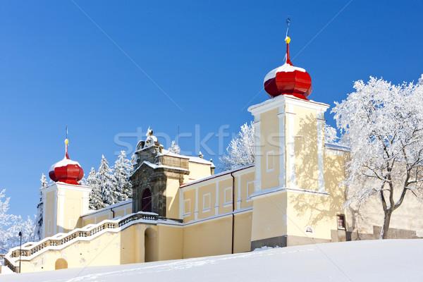 Montanha mãe deus mosteiro República Checa neve Foto stock © phbcz