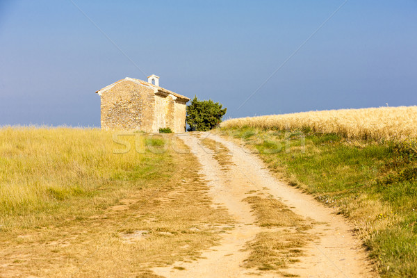 chapel with grain field near Entrevennes, Plateau de Valensole,  Stock photo © phbcz