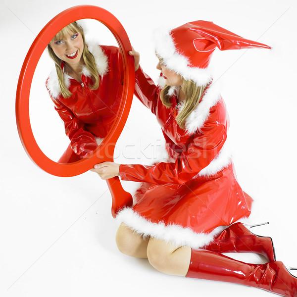 Santa Claus with a mirror Stock photo © phbcz
