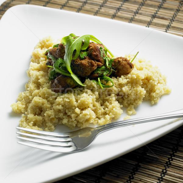 Pollo carne couscous alimentare forcella razzo Foto d'archivio © phbcz