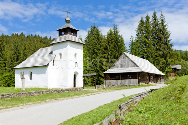 Kerk museum dorp Slowakije reizen architectuur Stockfoto © phbcz