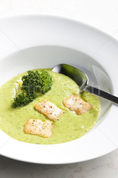 Brokkoli leves makréla hal tányér kanál Stock fotó © phbcz