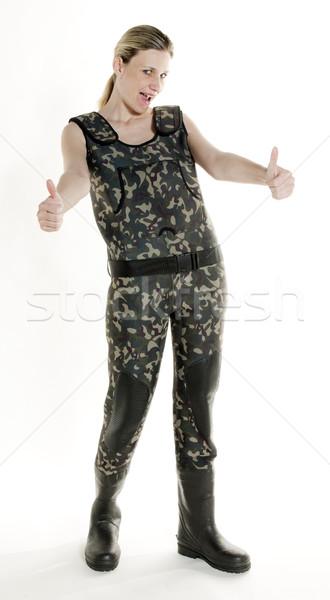 Visser vrouw studio vrouwen persoon permanente Stockfoto © phbcz