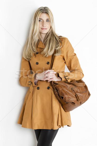 肖像 立って 女性 着用 ブラウン コート ストックフォト © phbcz