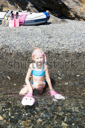 little girl on the beach at sea ready for snorkeling Stock photo © phbcz