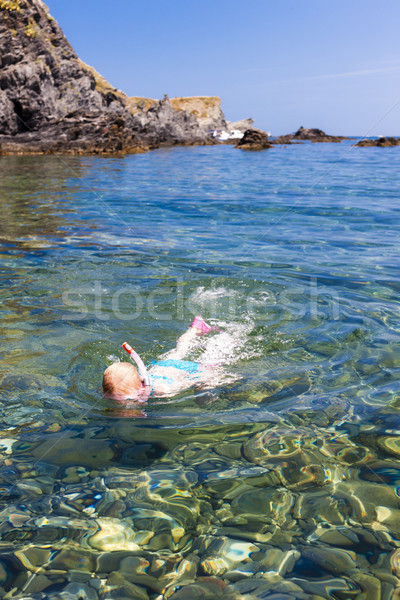 little girl snorkeling in Mediterranean Sea, France Stock photo © phbcz
