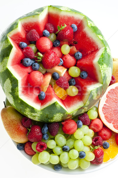 fruit salad in water melon Stock photo © phbcz