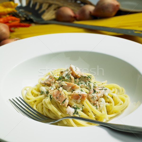 spaghetti with smoked salmon and dill Stock photo © phbcz