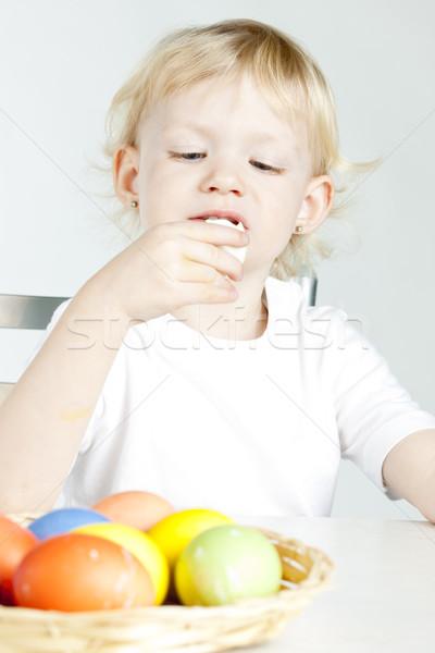 Stok fotoğraf: Portre · küçük · kız · paskalya · yumurtası · çocuk · yumurta · çocuk