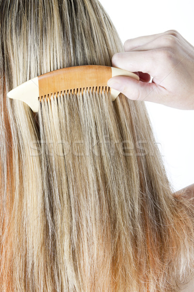 detail of woman combing long hair Stock photo © phbcz