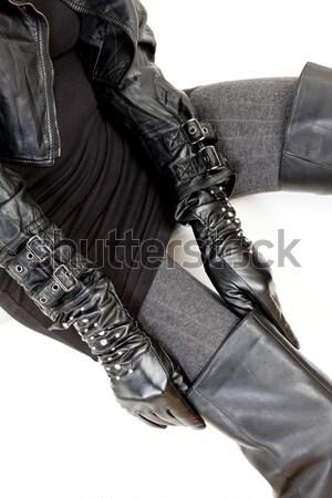 портрет сидят женщину латекс одежды Сток-фото © phbcz