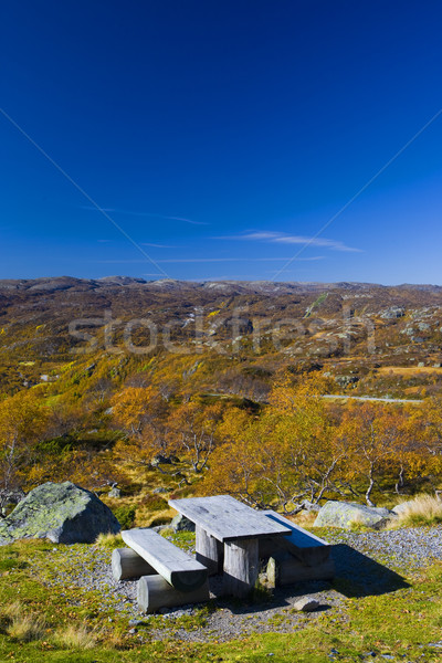 mountain range near Urdvassheii Peak, Norway Stock photo © phbcz