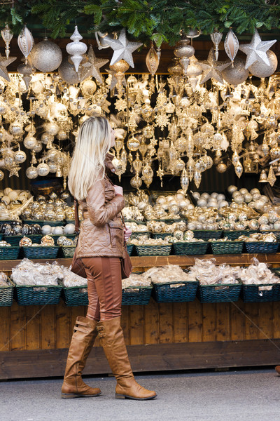 woman at Christmas market, Vienna, Austria Stock photo © phbcz