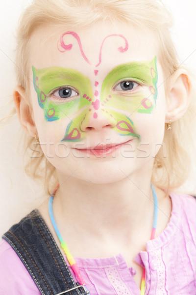 Portre Küçük Kız Yüz Boyama Kız Kelebek Stok Fotoğraf