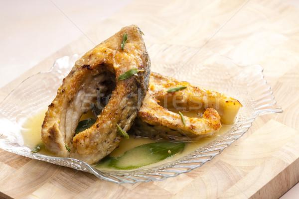 Sazan tereyağı adaçayı plaka yemek sağlıklı Stok fotoğraf © phbcz