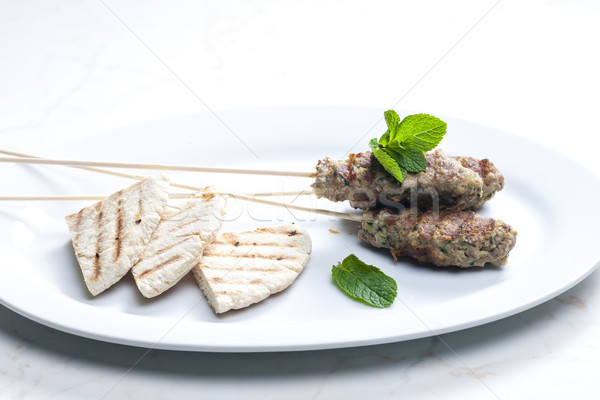 Schaap kebab mint pita brood vlees Stockfoto © phbcz