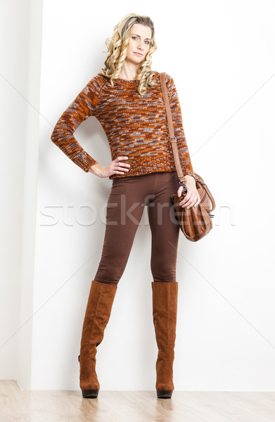 Pie mujer marrón ropa botas Foto stock © phbcz