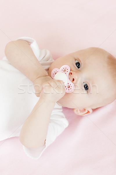 Portré három hónapok öreg kislány lány Stock fotó © phbcz
