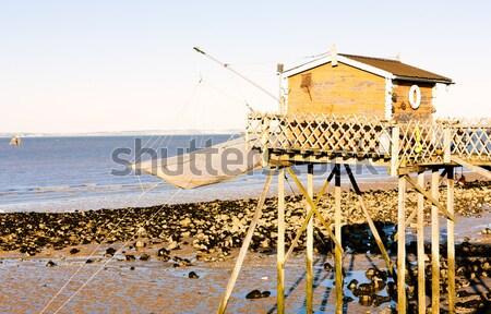 桟橋 漁網 部門 フランス 建物 ストックフォト © phbcz