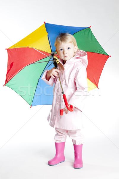 Kislány esernyő lány gyermek rózsaszín áll Stock fotó © phbcz