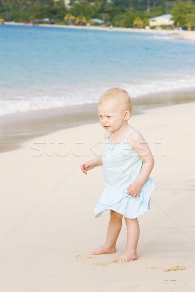toddler on the beach, Grand Anse Bay, Grenada Stock photo © phbcz