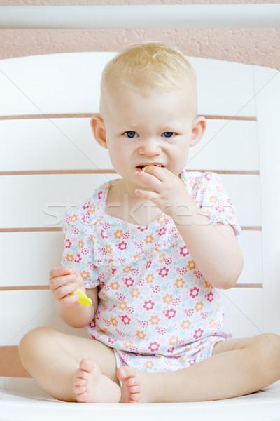 Vergadering eten appel kinderen kind Stockfoto © phbcz