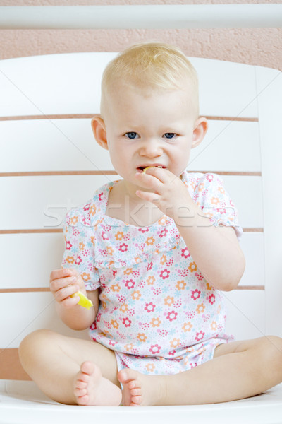 Seduta mangiare mela ragazzi bambino Foto d'archivio © phbcz