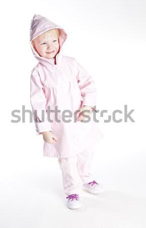 Kislány visel esőkabát lány divat gyermek Stock fotó © phbcz