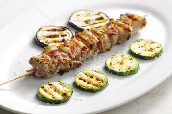 turkey skewer with bacon and grilled vegetables Stock photo © phbcz