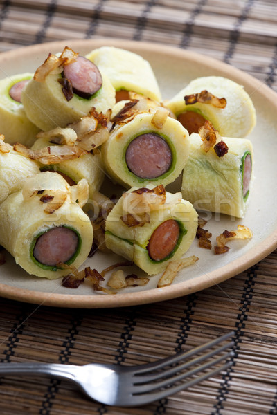 potato dumplings with sausage Stock photo © phbcz