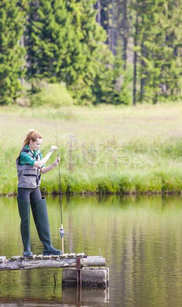 рыбалки пирс пруд женщины расслабиться Сток-фото © phbcz