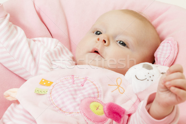portrait of three months old baby girl with a toy Stock photo © phbcz