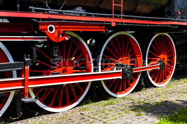 Részlet gőzmozdony vasút múzeum szállítás kint Stock fotó © phbcz