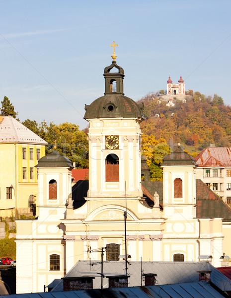 Church of St. Mary and Calvary at background, Banska Stiavnica,  Stock photo © phbcz