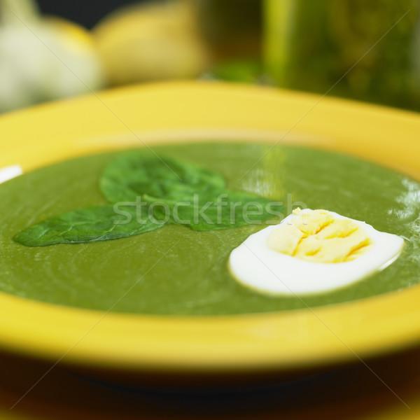 Krem szpinak zupa żywności jaj warzyw Zdjęcia stock © phbcz