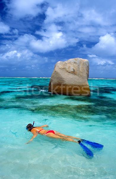 Snorkeling víz nők tenger sportok bikini Stock fotó © phbcz