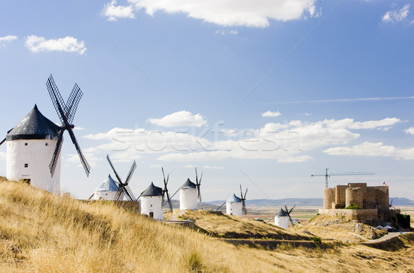 windmills with castle, Consuegra, Castile-La Mancha, Spain Stock photo © phbcz