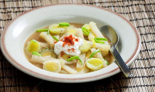 leek soup with kohlrabi Stock photo © phbcz