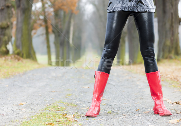 detail of woman wearing red rubber boots Stock photo © phbcz