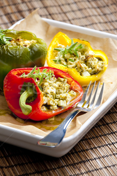 baked peppers filled with feta cheese Stock photo © phbcz