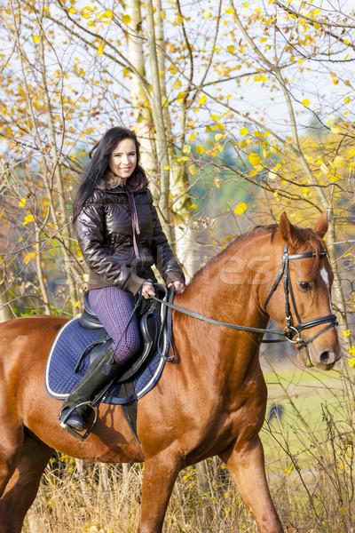 Lovas lóháton nők ló ősz fiatal Stock fotó © phbcz