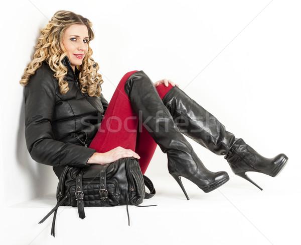 座って 女性 着用 ファッショナブル 服 ブーツ ストックフォト © phbcz