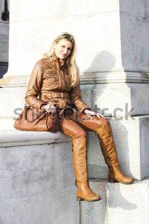 Részlet ül nő visel barna csizma Stock fotó © phbcz