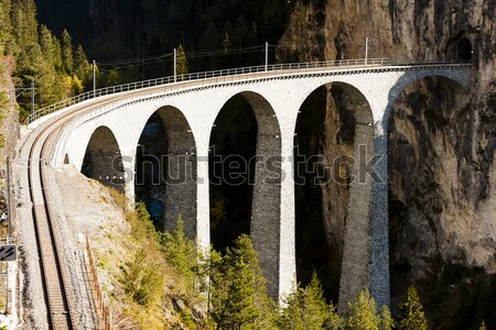 Trein spoorweg brug reizen architectuur Europa Stockfoto © phbcz