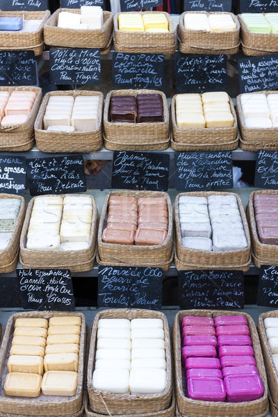 bars of soap, market in Forcalquier, Provence, France Stock photo © phbcz