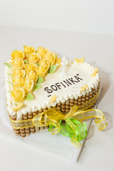 Születésnapi torta étel születésnap fehér desszert édes Stock fotó © phbcz