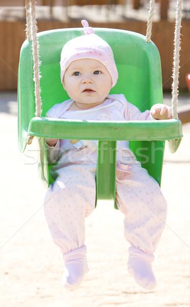 Baby posiedzenia huśtawka dzieci dziecko dziewcząt Zdjęcia stock © phbcz