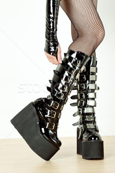 Részlet áll nő visel extravagáns ruházat Stock fotó © phbcz