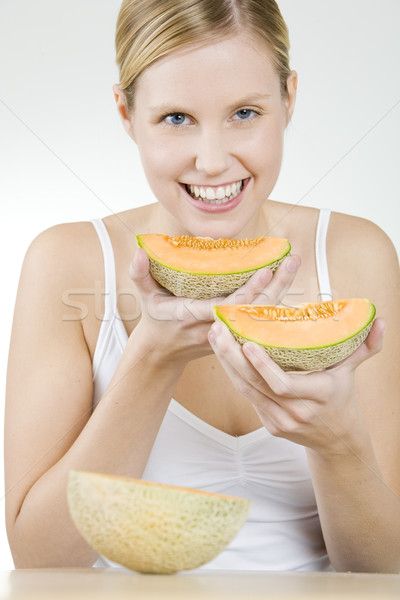 portrait of woman with water melon Stock photo © phbcz